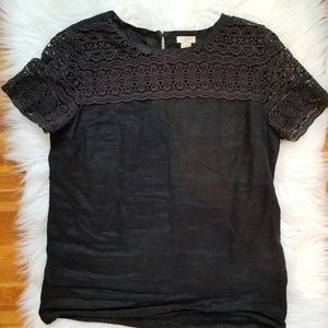 black linen top with detailing